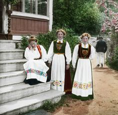 Three women in national costume, 'bunad', from the Hardanger region, n.d.