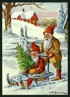 Eric Forsman Merry Little Christmas, Father Christmas, Vintage Christmas Cards, Scandinavian Christmas, Vintage Holiday, Christmas Fun, Scandinavian Style, Dashing Through The Snow, Illustrations