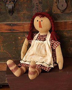 New Primitive Folk Art RAGGEDY ANN DOLL Painted Stripe Legs Stitched Dress #NaivePrimitive