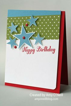 Birthday Stars Posted on November 11, 2013 by amyoneillblog | Stamps:  Simply Stars, Bring on the Cake; Ink:  Marina Mist, Real Red; Paper:  Real Red, Whisper White, Marina Mist, Brights DSP Stack; Embellishments:  Brights Candy Dots