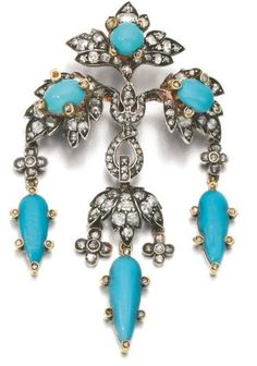TURQUOISE AND DIAMOND BROOCH AND PAIR OF EARRINGS, MID 19TH CENTURY, COMPOSITE The brooch of foliate design decorated with cabochon turquoises, circular-cut and rose diamonds, later brooch pin, together with a pair of earrings, en suite.