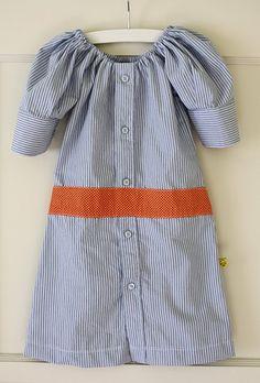 madame librarian Shirt Dress--from men's shirt to girl's dress (dana-made-it.com, made, made blog, dana made it, dana willard)