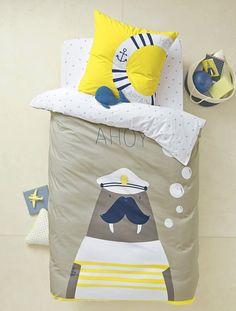 Duvet Cover + Pillowcase Set, Captain Walrus Theme - Grey/walrus - 1