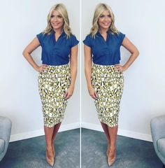 Holly Willoughby takes a walk on the wild side in leopard print pencil skirt for today's This Morning Office Fashion, Work Fashion, Modest Fashion, Fashion Outfits, Women's Fashion, Trendy Fashion, Printed Pencil Skirt, Printed Skirts, Holly Willoughby Style