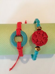 Macrame and beaded bracelet set/stackable by AroundMyWrist on Etsy, $14.25