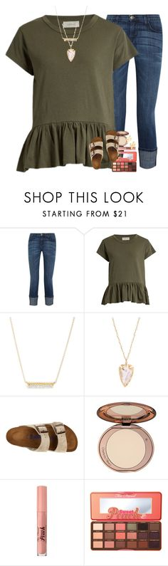 """TAKE ME BACK TO SLFL"" by ellaswiftie13 on Polyvore featuring Current/Elliott, The Great, Leah Alexandra, Birkenstock, Too Faced Cosmetics and CAM"
