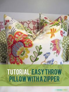 DIY - Easy Throw Pillow with a Zipper Tutorial. Great step-by-step instructions with pictures so it is easy to follow!