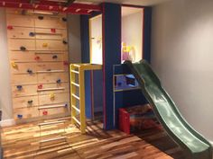 Module de jeux et de sport / playground / gym Longueuil / South Shore Greater Mo… Basement Play Area, Kids Basement, Unfinished Basement Playroom, Garage Playroom, Indoor Playroom, Indoor Playhouse, Indoor Jungle Gym, Indoor Play Areas, Kids Gym