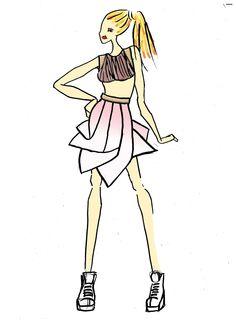Croquis réalisé par Milouch GOTTE. robe inspirée d'un thème Origami. Crop top en maille. Jupe taille haute avec une forme origami tie and dye rose. Basket pour donner un style street wear