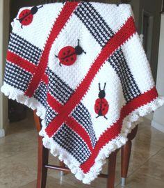 Handmade Crochet Black,White, and Red Houndstooth Ladybug Afghan (A MUST SEE)
