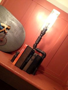 Apothecary Bottle Lamp - Table Lamp - Industrial Lighting - Steampunk Furniture - Pipes Fixture. $155.00, via Etsy.