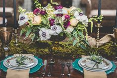 love the moss, colors, dishware