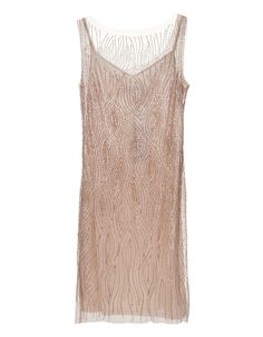 BARBARA SCHWARZER Long Sequin Nude Embroidered strappy dress