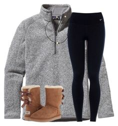 """OOTD and football!!!!"" by ponyboysgirlfriend ❤ liked on Polyvore featuring Patagonia, NIKE and UGG Australia"