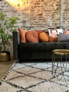 Industrial Loft, Interior Design Inspiration, Terracotta, Sweet Home, New Homes, Couch, Throw Pillows, Room, Furniture