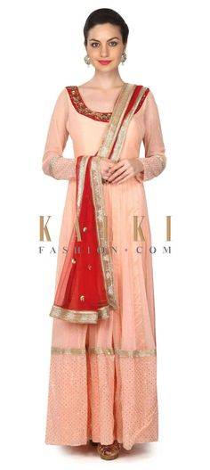 Buy this Peach anarkali suit with embroidered neckline only on Kalki