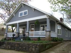 bungalow style 9 ( love everything about this one, the color the porch and the landscape) Craftsman Bungalow Exterior, Bungalow Homes, Craftsman Bungalows, Craftsman Cottage, Craftsman Style, Cottage House Plans, Cottage Homes, Exterior House Colors, Exterior Design