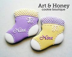 Baby booties by Art & Honey Cookie Boutique