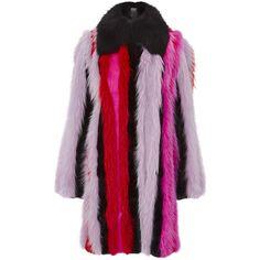 Versace Striped Fur Coat ($24,525) ❤ liked on Polyvore featuring outerwear, coats, fox fur coat, versace, oversized coat, versace coat and fox coat
