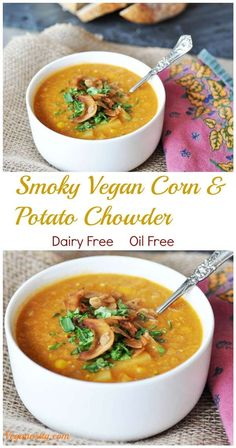Smoky Vegan Corn and Potato Chowder! This recipe is dairy-free and oil-free. It's so rich and hearty, and healthy! My husband polished off three bowls and didn't feel one bit guilty about it. www.veganosity.com