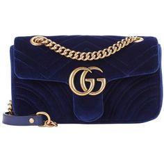 Gucci GG Marmont Mini Velvet Shoulder Bag ($1,290) ❤ liked on Polyvore featuring bags, handbags, shoulder bags, kirna zabete, kzloves /, velvet underground, gucci handbags, chain handbags, velvet handbags and blue purse