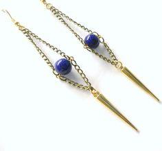 Boucles d'oreille en perles bleues égyptien et par jewelryBYplk, $19,00