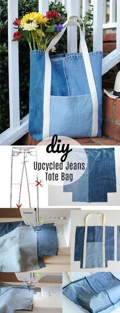 Trash To Couture: Tag der Erde DIY: Upcycled Jeans-Einkaufstasche - UPCYCLING IDEEN, Trash To Couture: Tag der Erde DIY: Upcycled Jeans-Einkaufstasche, There isn't any disadvantage in turning as a result of a planting season tresses. Trash To Couture, Denim Tote Bags, Diy Tote Bag, Diy Bags Jeans, Denim Purse, Artisanats Denim, Jean Diy, Denim Crafts, Jean Crafts