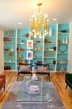 Bookshelves. Colorful living room Design // Austin Bean Design Studio