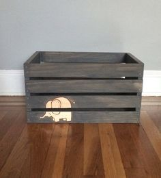 Baby Crate Baby Bin Gender Neutral Baby Bin by TishieMDesigns, $35.00 with a whale or anchor instead of the elephant