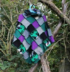 Child, Toddler Halloween Upcycled Poncho with Black Cats. Pixie Hood, Purple & Green Recycled Wool Knitwear. Handmade in UK Kids Ecofashion
