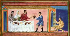 Depiction of Parable of Dives and Lazarus, Codex Aureus Epternacensis (ca. Medieval Life, Medieval Art, Jesus Stories, Classical Antiquity, Book Of Hours, 11th Century, Guy Names, Deck The Halls, Jesus Quotes