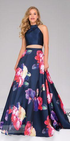 Navy Floral Mikado Two Piece Dress