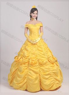 Halloween Adult Princess Belle Beauty and the Beast Cosplay Costume Gold Dress #Wangxinchen #Dress #Party