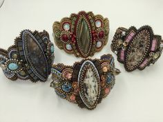 Bead embroidered bracelets