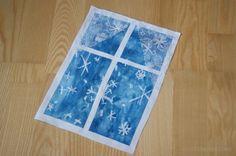 Okno zimą- kolaż dla przedszkolaków