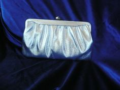 Silver HandBag Silver metallic clutch purse, it has a silver metal chain strap, and a pretty metal Rose clasp, it has a black fabric lining by SouthWestConcepts on Etsy