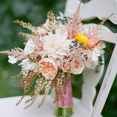 Textured Pink and white bridal bouquet | Laura Murray Photography | Bare Root Flora | www.theknot.com