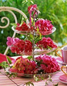 fresh flowers on a tri-platter...