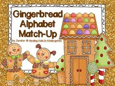 """Gingerbread Alphabet Match-Up Included are upper case and lower case letter cards, along with a picture card for each letter sound. Students can match upper case to lower case, letter to sound or match-up all 3! These Gingerbread friends will be a great Christmas or Winter time center to go along with any gingerbread book, such as Jan Brett's """"Gingerbread Baby""""!"""
