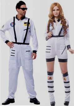 af87ee19138c Mens Womens Astronaut Costume Adults White Spaceman Fancy Dress Nasa  Jumpsuit