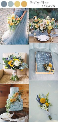 dusty blue and yellow wedding color ideas for spring summer 2020 wedding palette Top 10 Wedding Color Ideas for Spring/Summer 2020 - EmmaLovesWeddings Yellow Wedding Colors, Summer Wedding Colors, Wedding Color Schemes, Wedding Ideas Blue, Wedding Colour Palettes, Wedding Color Pallet, Popular Wedding Colors, Spring Wedding Decorations, Wedding Blue