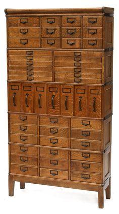 Oak 5-Stack 49-drawers File Cabinet