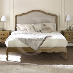GB50 4 Double French Oak Upholstered Low Foot Board Bed