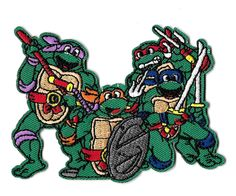 Novelty Iron On Patch Applique Pizza Lover TV Movie Parody Turtles Eating Pizza