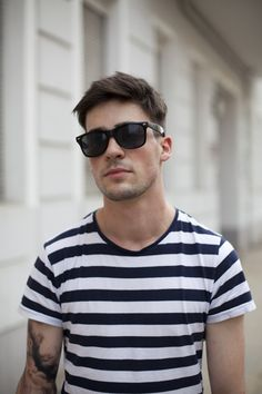 stripes, sunnies, tats, and a little attitude. #mens #style #fashion