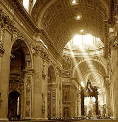 St. Peter's Basillica, the Vatican...for a bit of perspective, the throne at the end is seven stories high.