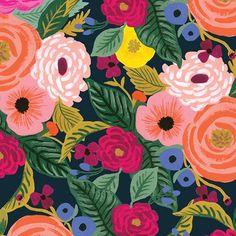 Juliet Rose in Navy Canvas -- English Garden by Rifle Paper Co. Anna Rifle Bond, Anna Bond, 1940s, Stash Fabrics, Lawn Fabric, Retro Fabric, Rifle Paper Co, Plant Species, Floral Illustrations
