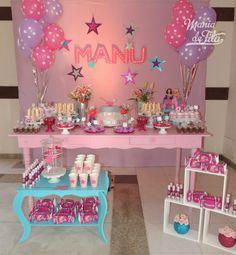 Party decoration by Mania de Fita. Barbie the princess and the popstar. www.facebook.com/maniadefita