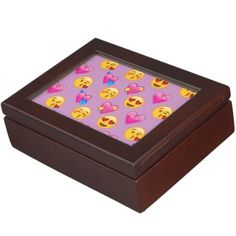 #Emoji Hearts and Love Pink Patternsd Keepsake Box - #cute #pink #sweet #custom