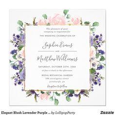 Monogram Wedding Invitations, Botanical Wedding Invitations, Glitter Invitations, Elegant Wedding Invitations, Purple And Silver Wedding, Unisex, Lavender, Wildflowers Wedding, Reception